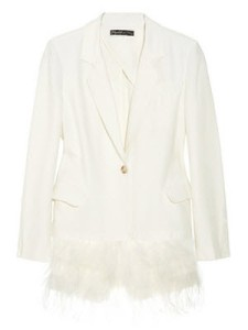 Elizabeth-and-James-Feather-Trimmed-Crepe-Blazer